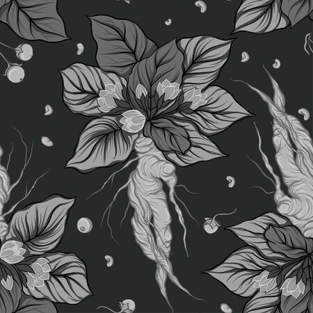 Seamless pattern, background with miraculous, hallucinogenic plants in botanical style in monochrome gray color. Vector illustration