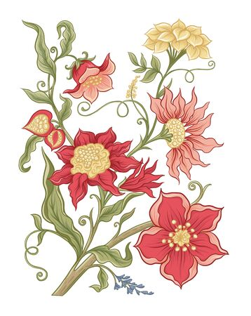 Fantasy flowers in retro, vintage, jacobean embroidery style. Element for design. Colored vector illustration Isolated on white background..
