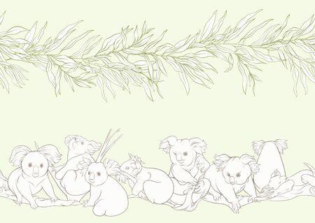 Koala bear seamless pattern. Colored vector illustration. On soft green background Çizim