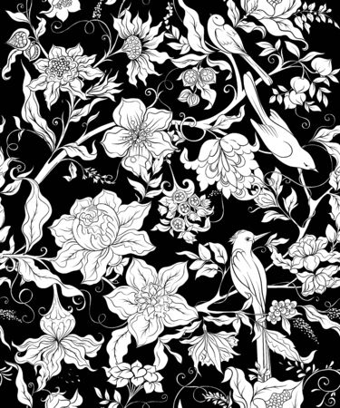 Fantasy flowers and birds in retro, vintage, jacobean embroidery style. Seamless pattern, background. Vector illustration. Black and white graphic.