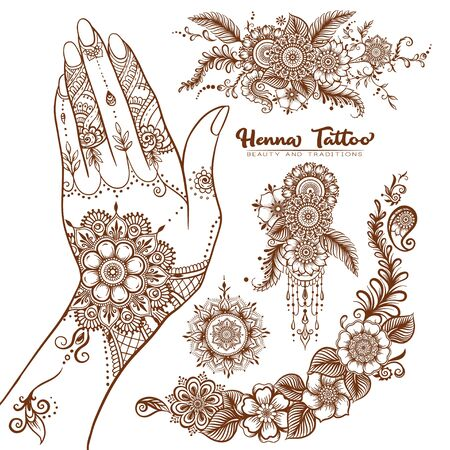 Female hand and set of traditional indian henna tattoo elements. Vector illustration.