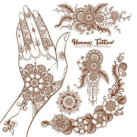 Weibliche Hand und Satz traditioneller indischer Henna-Tattoo-Elemente. Vektor-Illustration.