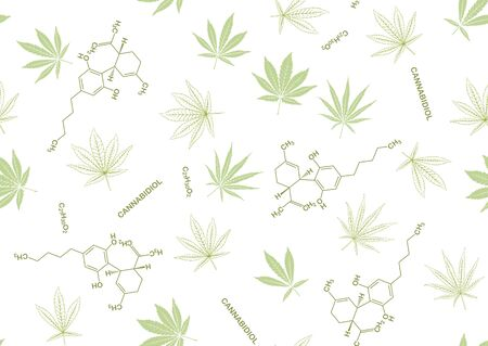 Cannabis leaves and cbd, cannabidiol formula seamless pattern, background. Vector illustration in green colors. Isolated on white background. Çizim