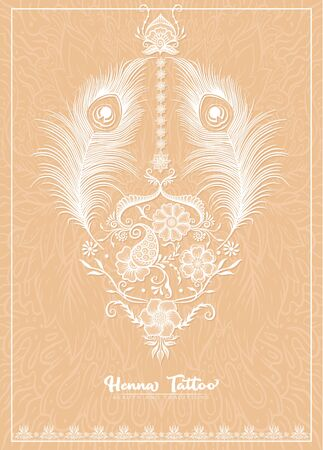 Template design with traditional indian white henna tattoo with peacock feather. Template for wedding invitation, greeting card, banner, gift voucher, label. Vector illustration..