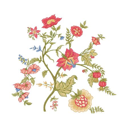 Fantasy flowers in retro, vintage, jacobean embroidery style. Embroidery imitation isolated on white background. Vector illustration.