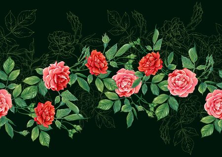 Seamless pattern with red roses flowers. Colored vector illustration. Isolated on black background. Illustration