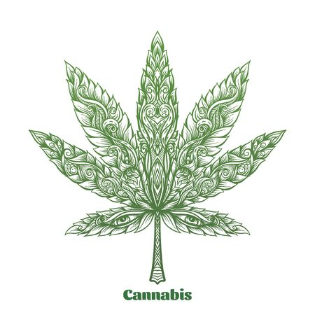 Cannabis leaf decorated with original modern pattern. Element for design. Vector illustration In decorative style. Ethnic patterned ornate hand drawn.. Vector Illustratie