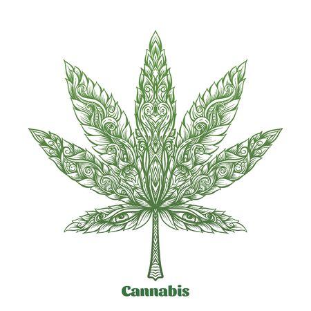 Feuille de cannabis décorée d'un motif moderne original. Élément pour la conception. Illustration vectorielle Dans un style décoratif. Dessiné à la main à motifs ethniques.. Vecteurs