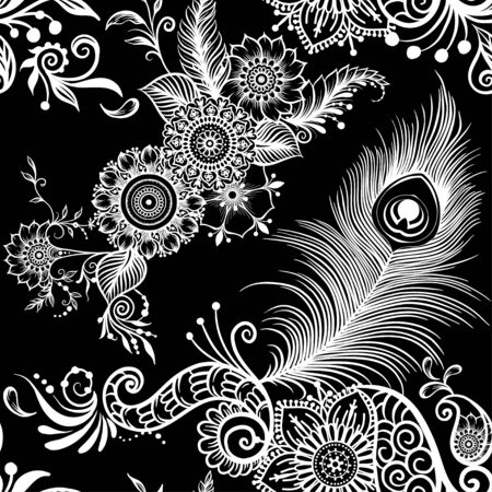 Peacock feathers in eastern ethnic style, mehendi, traditional indian henna floral ornament. Seamless pattern, background in lack and white. Vector illustration.