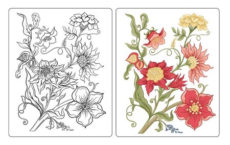 Fantasy flowers in retro, vintage, jacobean embroidery style. Coloring page for the adult coloring book with coloring sample. Outline vector illustration.