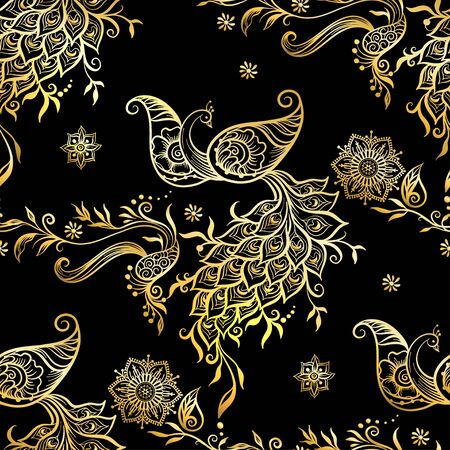 Eastern ethnic style compositions, mehendi, traditional indian henna floral ornament with peacock. Seamless pattern, background in soft pastel colors. Vector illustration..
