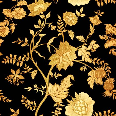Seamless pattern with stylized ornamental flowers in retro, vintage style. Jacobin embroidery. Vector illustration In gold and black. Vettoriali