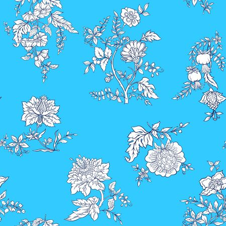 Seamless pattern with stylized ornamental flowers in retro, vintage style. Jacobin embroidery. Outline vector illustration on blue background.