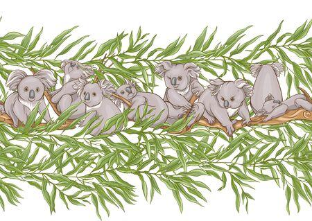 Koala bear seamless pattern. Colored vector illustration. Çizim