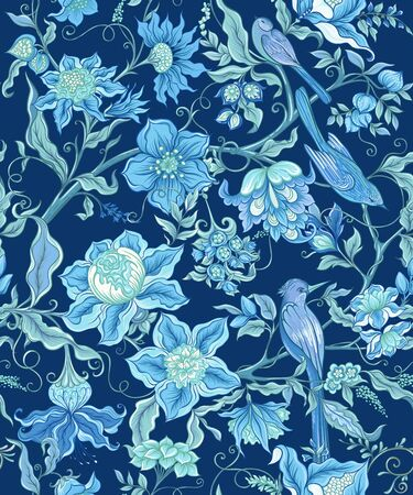 Fantasy flowers and birds in retro, vintage, jacobean embroidery style. Seamless pattern, background. Vector illustration. On navy blue background. Vettoriali