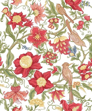 Fantasy flowers and birds in retro, vintage, jacobean embroidery style. Seamless pattern, background. Vector illustration. Isolated on white background. Vettoriali