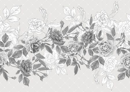 Seamless pattern with roses flowers. Vector illustration in monochrome gray colors