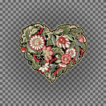 Embroidered love heart-shaped patch with a floral pattern in retro, vintage style. Embroidery imitation. Vector illustration.