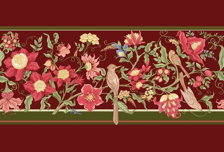 Fantasy flowers and birds in retro, vintage, jacobean embroidery style. Seamless pattern, background. Vector illustration. On marsala red background. Vettoriali