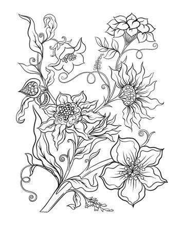 Fantasy flowers in retro, vintage, jacobean embroidery style. Coloring page for the adult coloring book. Outline vector illustration.