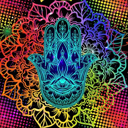 Seamless pattern with ornate hand drawn hamsa. Popular Arabic and Jewish amulet. Vector illustration. Vector illustration in neon, fluorescent colors.