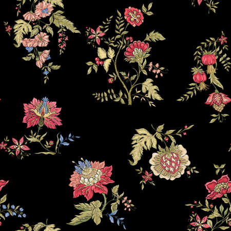 Seamless pattern with stylized ornamental flowers in retro, vintage style. Jacobin embroidery imitation. Colored vector illustration on black background.