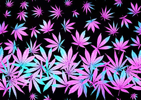 Cannabis leaves seamless pattern, background. Vector illustration in neon, fluorescent colors. Isolated on black background.