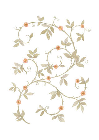 Floral motif of intertwined branches and leavesIn art nouveau style, vintage, old, retro style. Colored vector illustration.