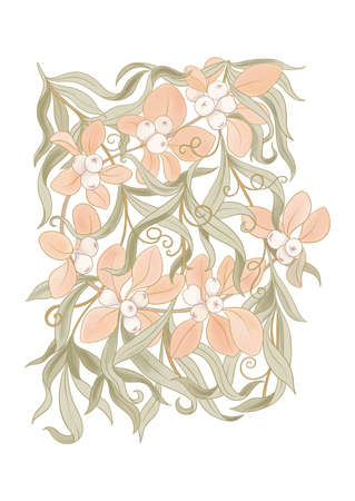 Floral motif of intertwined branches and leavesIn art nouveau style, vintage, old, retro style. Colored vector illustration. Vettoriali