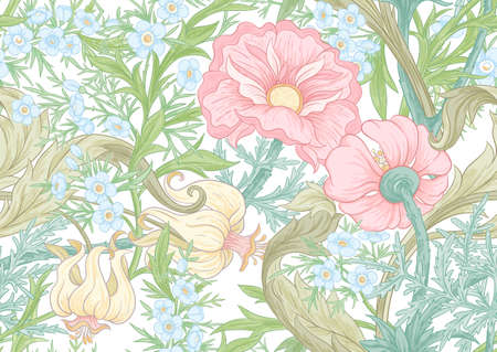 Floral Seamless pattern, background with In art nouveau style, vintage, old, retro style. Colored vector illustration. Isolated on white background.. Ilustração