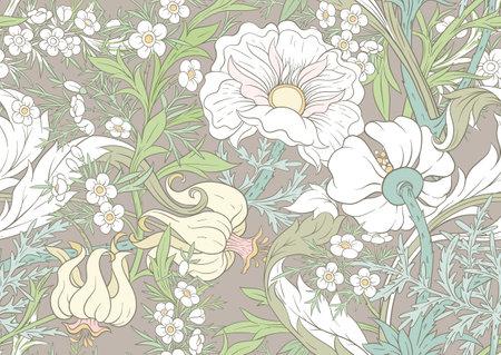 Floral Seamless pattern, background with In art nouveau style, vintage, old, retro style. Colored and outline design. Vector illustration. Ilustração