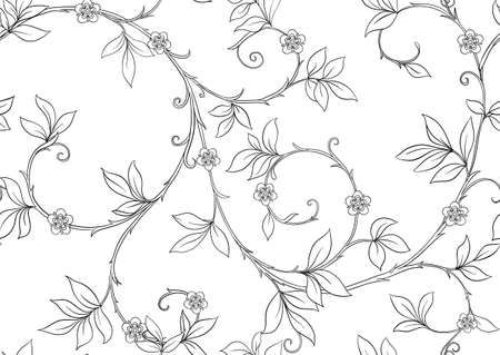 Floral Seamless pattern, background In art nouveau style, vintage, old, retro style. Outline vector illustration Isolated on white background.. Ilustração