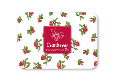 Cranberry Ripe berries. Template for product label, cosmetic packaging. Easy to edit. Graphic drawing, engraving style. Vector illustration.