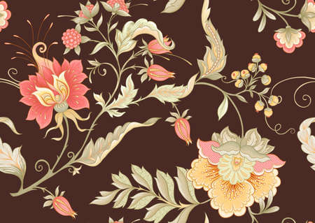Seamless pattern with stylized ornamental flowers in retro, vintage style. Jacobin embroidery. Colored vector illustration on chocolade brown background.