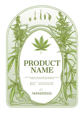 Cannabis Template for product label, cosmetic packaging. Easy to edit. In art nouveau style, vintage, old, retro style. Isolated on white background..  イラスト・ベクター素材