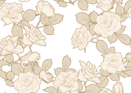 Seamless pattern with roses flowers. Colored vector illustration. In beige vintage colors Иллюстрация