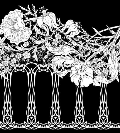 Floral Seamless pattern, background with In art nouveau style, vintage, old, retro style. Black and white graphics vector illustration..