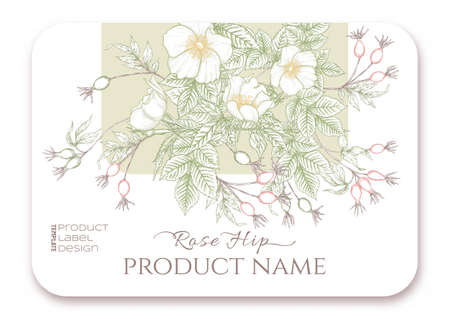 Rose hips with flowers and berries. Template for product label, cosmetic packaging. Easy to edit. Graphic drawing, engraving style. Vector illustration.