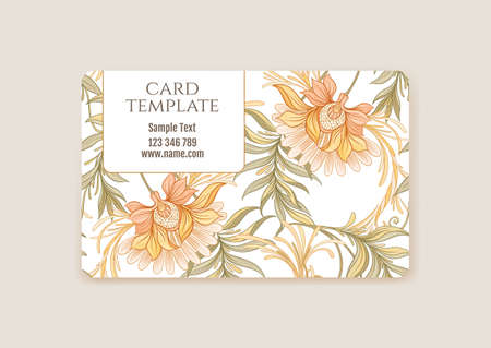 Plastic debit or credit, pass, discount, membership card template with decorative flowers in art nouveau style, vintage, old, retro style. Vector illustration.