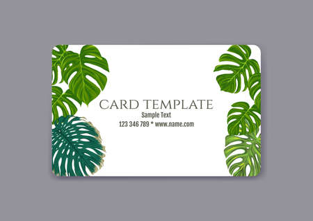 Plastic debit or credit, pass, discount, membership card template with tropical plants in natural color on white background. Vector illustration.