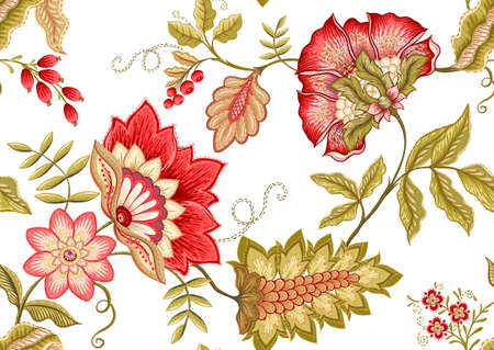 Seamless pattern with stylized ornamental flowers in retro, vintage style. Jacobin embroidery. Colored vector illustration isolated on white background. Vettoriali