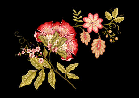 Fantasy flowers in retro, vintage, jacobean embroidery style. Embroidery imitation isolated on black background. Vector illustration. 向量圖像