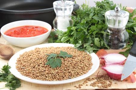 frugal: Ingredients for lentil soup