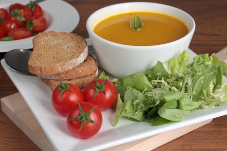 Healthy lunch with soup and salad Stock Photo