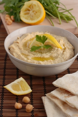 dipping: Hummus with pita bread