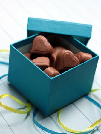 giftbox: A box of Valentines Day chocolates  Stock Photo