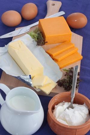 healthful: Los productos l�cteos como leche, yogur, queso, mantequilla y egggs sobre un fondo azul Foto de archivo