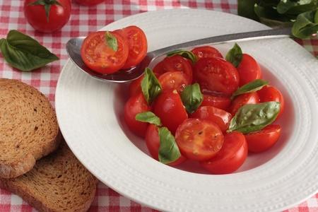 Cherry tomato salad with fresh basil