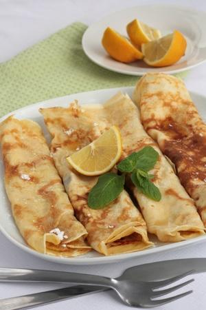 Lemon and sugar pancakes Stock Photo