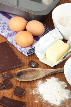 Ingredients for baking chocolate brownies Stock Photo